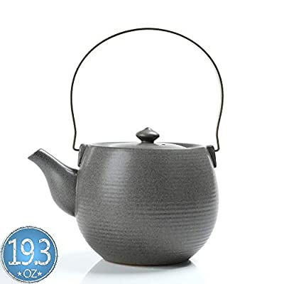 TEANAGOO TP03, Ceramic Teapot with infuser and Metal Handle, 19 oz, Jun Ware, Grey, Chinese Porcelain Unique Asian Adult Kongfu Japan Loose leaf Tea Stove