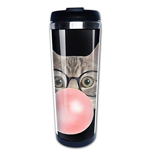 Ahdyr Taza de café de Viaje Gato soplando Goma Rosa 12 oz Taza de Acero Inoxidable con Aislamiento al vacío de Doble Pared, Taza de café con Aislamiento para Bebidas Calientes al Aire Libre