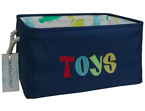 Rectangular Storage Basket Collapse Canvas Fabric Storage Bin with Handles for Organizing Home/Kitchen/Kids Toy/Office/Closet/Shelf Baskets (Navy Toys)