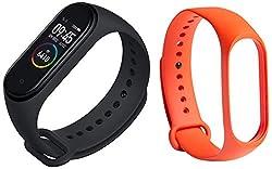 Mi Smart Band 4 (Black) + Additional Strap (Orange)