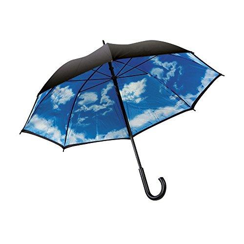 eBuyGB bedrukte dubbele luifel bewolkt dag handleiding houten boef handvat Stick paraplu, 100 cm, zwart