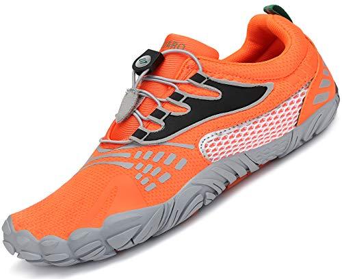 SAGUARO Hombre Mujer Barefoot Zapatillas de Trail Running Minimalistas Zapatilla de Deporte Fitness Gimnasio Caminar Zapatos Descalzos para Correr en Montaña Asfalto Escarpines de Agua, Naranja, 39 EU