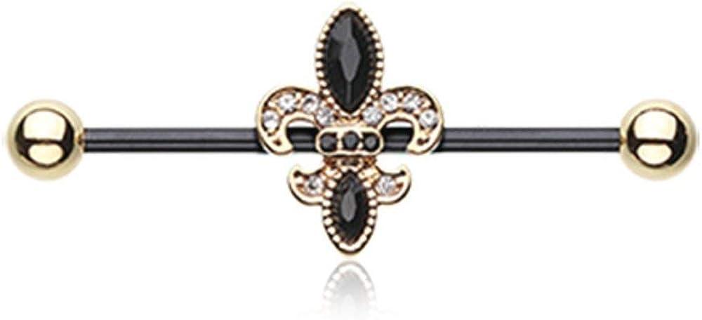 Covet Jewelry Golden Black Fleur De Lis Industrial Barbell