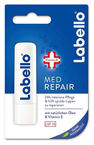 Labello Med Repair im 4er Pack (4 x 4,8 g), Lippenpflegestift mit Sonnenschutz (LSF 15) und Vitamin E für intensiven Lippenschutz, Lippenpflege ohne Mineralöle
