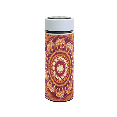 XiangHeFu waterfles reisbeker kunst ronde olifant patroon thermoskan 12oz drank houden koud of warm sport lekvrij