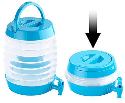 PEARL Getränkespender: Faltbares Fässchen, Auslaufhahn, Ständer, 5,5 Liter, blau/transparent (Faltbares Fass)