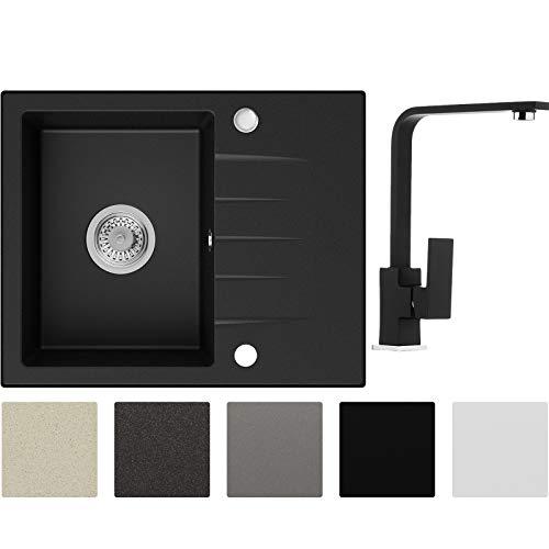Küchenspüle Schwarz 58,5 x 46,5 cm, Spülbecken + Wasserhahn Küche + Siphon, Granitspüle ab 45er Unterschrank in 5 Farben mit Armatur Varianten, Einbauspüle von Primagran