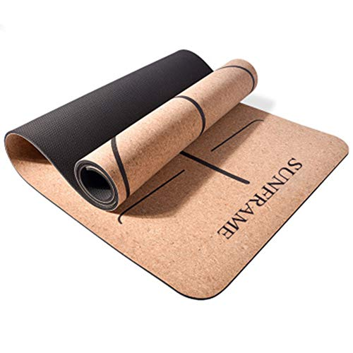 ARLIYA Cork Yoga mat, Eco Friendly Cork & Natural Rubber Mat, Quality hot Yoga mat, Household Thickened Non-Slip Yoga mat, Soft and Durable, Moisture and Sweat Resistant, no Wrinkles