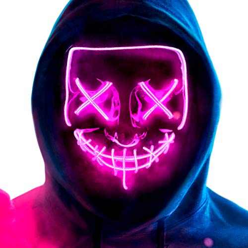 MeiGuiSha LED Halloween Purge Mask,Halloween Scary Cosplay Light up Mask for Festival Parties- Purple