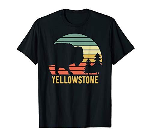 Vintage Yellowstone National Park Retro Travel Buffalo Bison T-Shirt