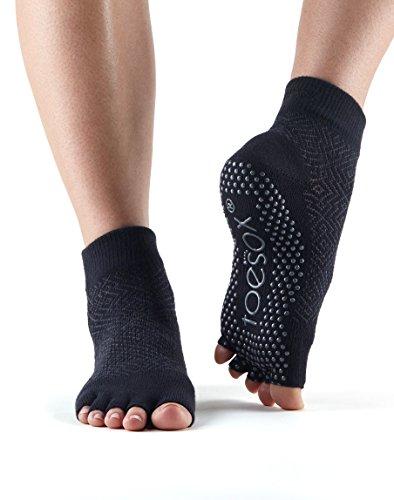 ToeSox Half Toe Ankle Grip Socks For Yoga, Pilates, Barre Fitness Socks (Onyx, Medium)