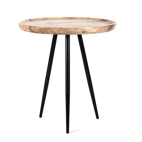 MH London Chervey natürlichem Mangoholz mit Metallbeinen | Designer moderner Beistelltisch für Wohnzimmer/Schlafzimmer, Kirschrot, 53 x 53 x 60 cm