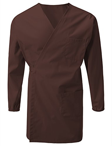 7 Encounter Unisex Multifuctional Wrap Smock with Chest and Side Pockets Brown Size 2XL/3XL