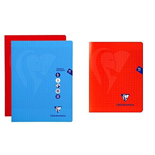 Clairefontaine 303327C - Un cahier piqué de travaux pratiques Mimesys 80 pages 24x32 cm & 333741C Un Cahier Agrafé Mimesys Rouge - 17x22 cm 96 Pages Grands Carreaux Papier Blanc 90 g