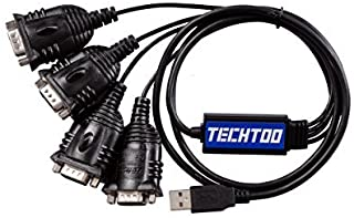 TECHTOO 4 Port Professional FTDI CHIP USB to RS232 Serial Cable DB9 Serial Adapter Converter 9-Pin Male to Male with Hexnuts