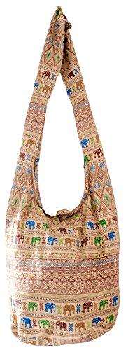 Beuteltasche aus Reiner Baumwolle, mehr als 40 Verschiedene, wiederverwertbare Einkaufstasche für einen umweltbewussten Lebenstil, Umhängetaschen (Aztek Beige)
