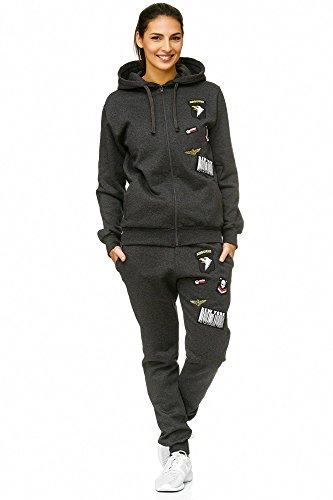 Violento Damen Jogging-Anzug | USA-Patches 685 (L, Anthrazit)