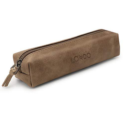 Londo Genuine Leather Zipper Pen, Pencil & Cosmetic Case (Mink), OTTO319