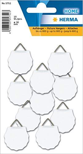 HERMA 5752 Bildaufhänger zum kleben, klein (Ø 30 mm, 10 Stück, Papier mit Leinenstruktur) selbstklebend, wasserlöslich gummiert, Tragkraft 800 g, weiß