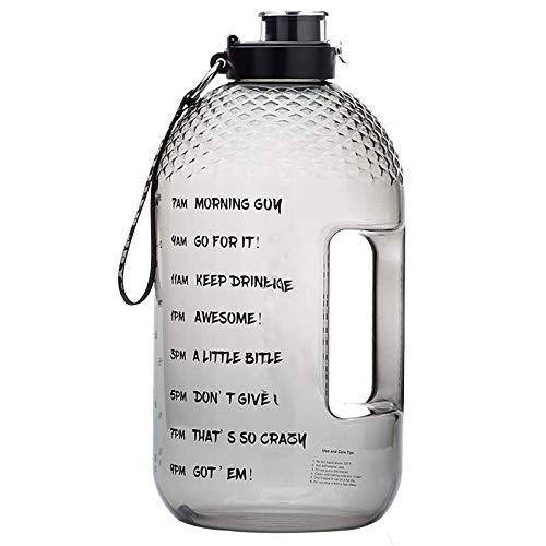 LIBAITIAN Botella Deportiva 3.78L, Jarra de Agua Deportiva de 1 Galón, Agua Sin BPA Reutilizable Botellas De Agua con Marcador De Tiempo para Athletic Bici Gimnasio Oficina