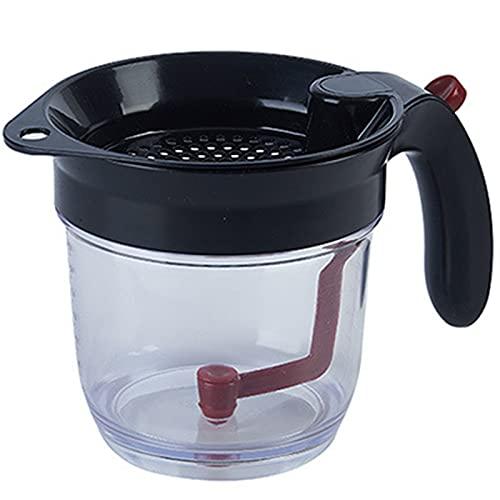 Chahu Separador de sopa de aceite con taza de medición de liberación inferior con filtro, duradero, lavable, desmontable y conveniente para la cocina