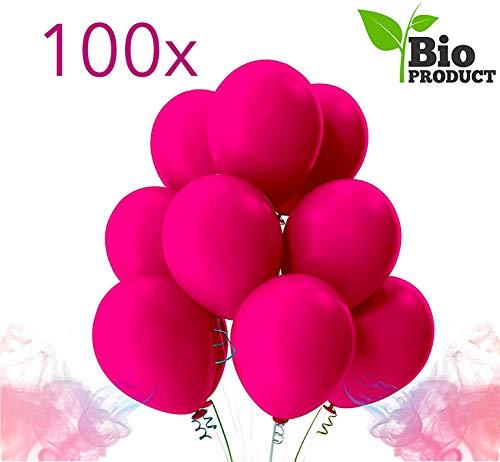 TK Gruppe Timo Klingler 100x pink Luftballons Ø 35 cm Luft & Helium - 100% Bio Deko für Geburtstage, Hochzeit und Partys (100x pink)