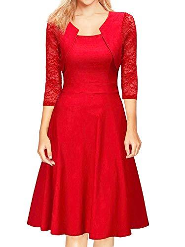 HenzWorld Vestido de Noche para Mujer Retro Cuello Cuadrado Encaje Manga 3/4 Vestidos Midi Vestido de Cóctel de Fiesta con Dobladillo Plisado Delgado para Mujer (Rojo Talla S)