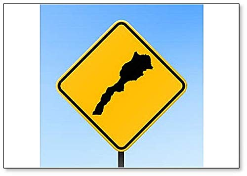 Marokko Map on Road Sign Illustration Koelkast Magneet