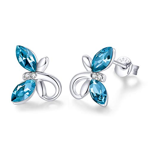 CDE Ear Jewelry for Women Girls Hypoallergenic White Gold Birthstone Butterfly Stud Blue Earrings Embellished with Austrian Crystals 925 Sterling Silver Earring Birthday Mothers Day Gift for Teen