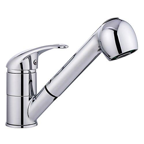 BATHWA Küchenarmatur Einhebelmischer Waschtischarmatur mit ausziehbarer Geschirrbrause Wasserhahn Spültisch Armatur Mischbatterie Waschenbecken Bad (Silber)