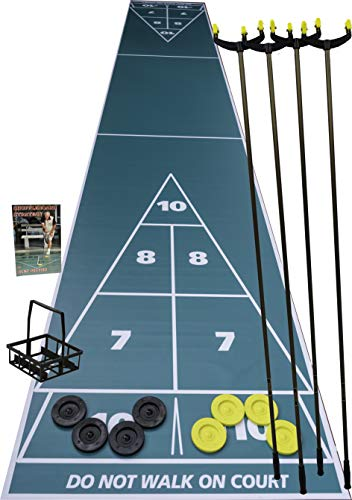 """Home Shuffleboard Court Package - Roll Out Shuffleboard Court (28'L X 54"""" W), 4 Shuffleboard Cues, 8 ARCO 6"""" Tournament Discs (4 Yellow, 4 Black), Disc Carrier, Strategy Book, and Rules"""