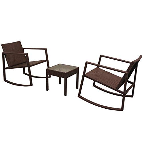 Festnight 3-delige Bistroset poly rattan Eettafel en stoel salontafel voor eetkamer woonkamer keuken bruin