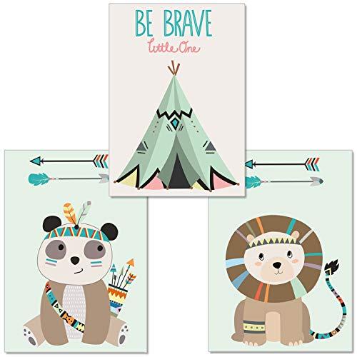 artpin® 3er-Set Poster Kunstdruck für Kinder, von Künstlerin - Dekoration für Babyzimmer, Kinderzimmer - im skandinavischen Stil - A4 Bilder für Mädchen Junge - Wandbild - Löwe,Zelt,Panda(P12)