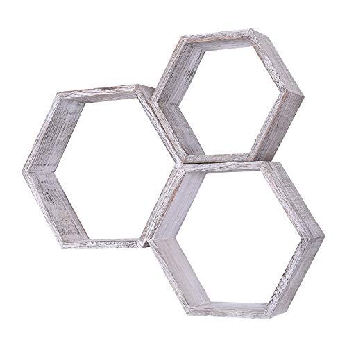 Comfify Estantes Flotantes Hexagonales Montados en Pared Rústicos Blancos - Juego de 3 - Grandes, Medianos y Pequeños - Estantes para Recámaras, Salones y más - Decoración de Pared de Panal de Abeja