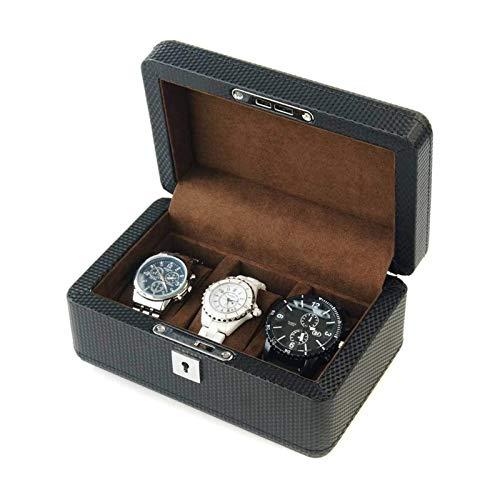 WHZG Caja joyero Caja de exhibición de diseño de Fibra de Carbono de Ranura, Caja de Reloj para Hombres Hebilla de Metal - Negro Organizador Joyas