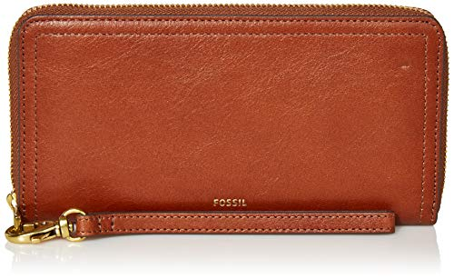 Fossil Women's Logan Faux Leather RFID Zip Around Clutch Wallet, Brown