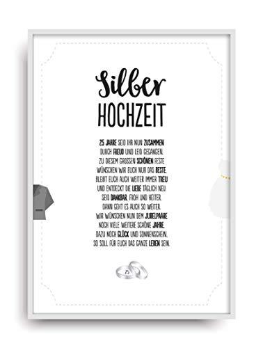 Hochzeit Karte SILBERHOCHZEIT Kunstdruck 25. Hochzeitstag Silber Brautpaar Bild ohne Rahmen DIN A4
