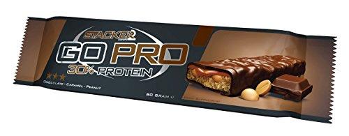 Stacker2 Go Pro Protein Bar Eiweißriegel Proteinriegel - Chocolate Caramel Peanut (12x80g Riegel)