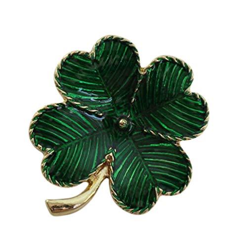 Valiclud - Broche de trébol chapado en oro con diseño de San Patricks Day de cuatro hojas, accesorio de regalo para niñas y mujeres (verde)