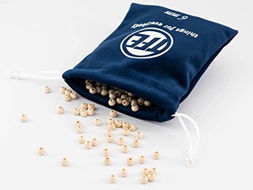 TFE Holzperlen 6mm 100 Stück in Samtsäckchen 6 Größen zur Auswahl (6mm, 8mm, 10mm, 12mm, 14mm, 16mm) R& mit Loch, Holzkugeln, Makramee Zubehör, Perlenweben, Basteln, DIY, Schmuckherstellung