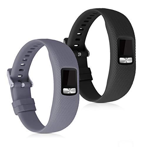 kwmobile 2X Pulsera Compatible con Garmin Vivofit 4 - Brazalete de Silicona Gris/Negro sin Fitness Tracker