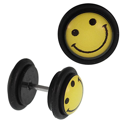 Fake piercing plug zwart gezicht smiley lachend geel rubberen ring 7 mm