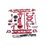 Nrpfell per 1:14 144001 RC Ricambio Completo per Auto Ricambi Metallo C Sedile Tazza Sterzo Albero di Trasmissione Centrale, Rosso