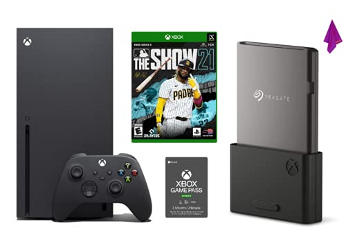 Xbox Series X 1TB Console Bundle:Xbox Series X, MLB The Show 21, Seagate Expansion Card and 3 Month Xbox Game Pass Ultimate Digital Download+Tikbot Cloth