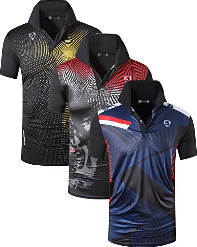 jeansian Hombre 3 Mix Packs Deporte Camiseta de Mangas Cortas T-Shirt Polo LSL265_266_267 Black S