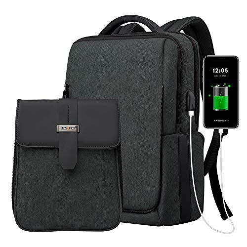 Beschoi Zaino per Laptop 15.6 Pollici Unisex Amovibile Zaino Antifurto con Porta Usb Zaino per PC Portatile Impermeabile Scuola Business Viaggio all Aperto