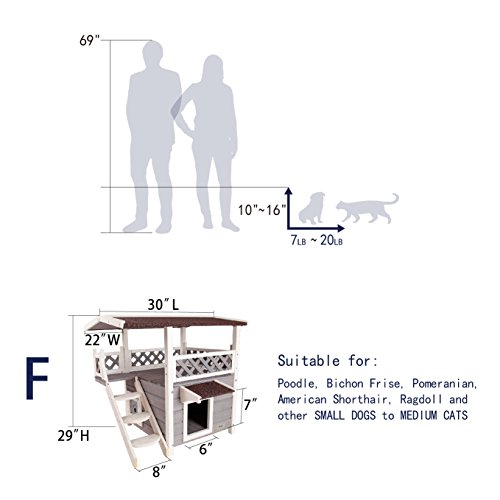 Petsfit 2-Story Outdoor Weatherproof Cat House with Stairs, 1-Year Warranty