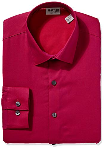 Kenneth Cole REACTION Men's Dress Shirt Slim Fit Stretch Collar Solid, Magenta, 17' Neck 34'-35' Sleeve (X-Large)