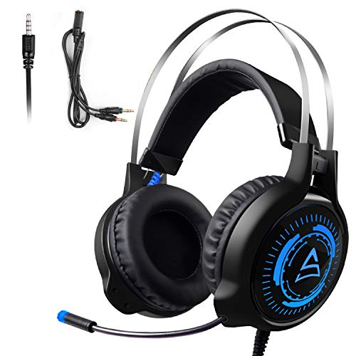 Gaming Headset with Mic for Xbox One PS4,SADES G50 Headphones Stereo Over Ear Bass 3.5mm Microphone Noise Canceling Soft Earmuffs(Free Adapter) for PC/Xbox/PS4/Switch