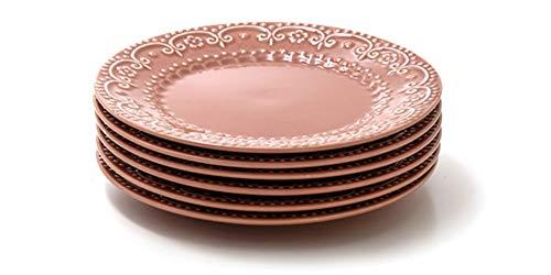Jogo com 6 pratos rasos, Pimenta-rosa, Coleção Especiarias, Acervo Panelinha